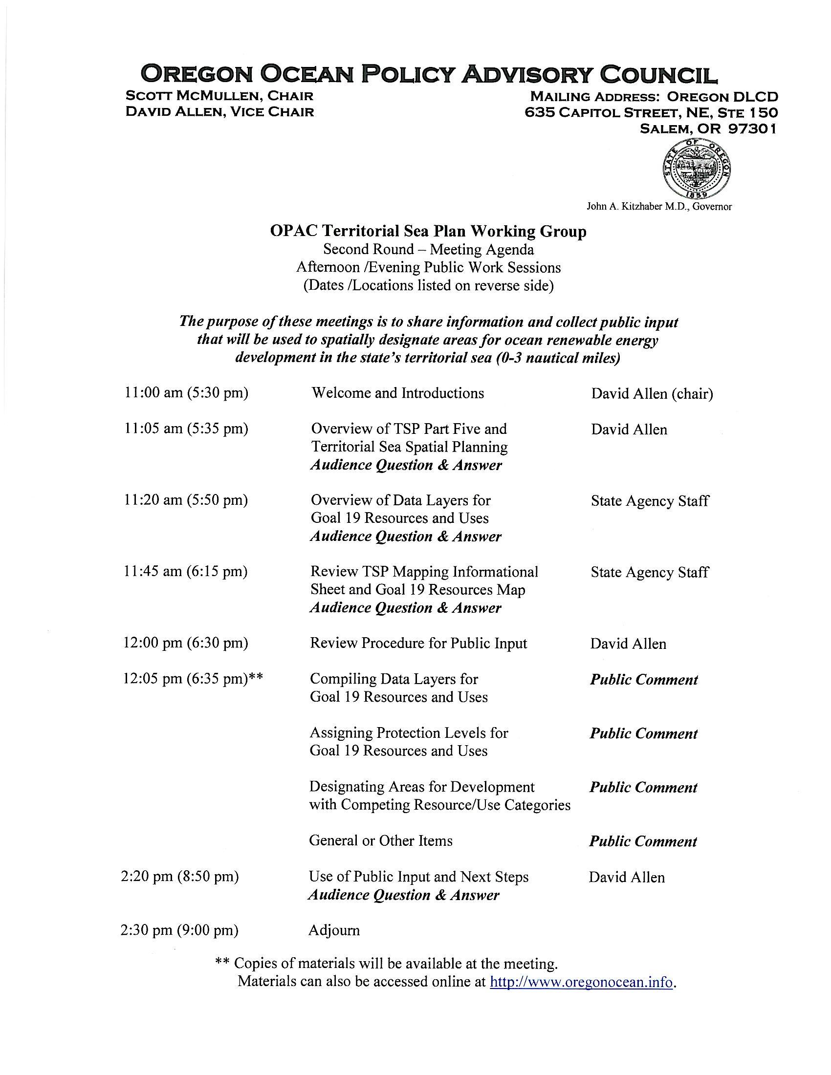 agenda for meetings